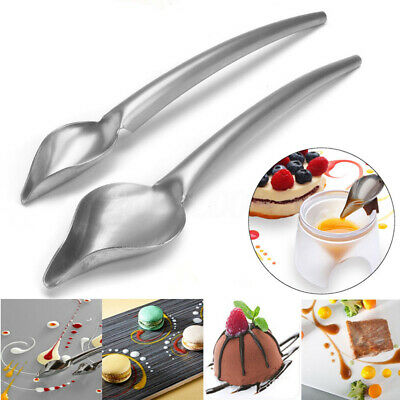Set of 2Pcs Stainless Steel Deco Spoon Food Draw Design Sauce Dressing Dessert