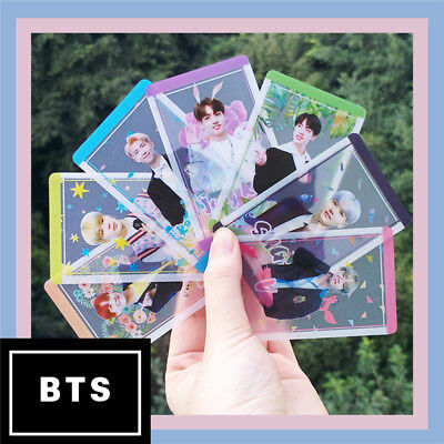 8pcs/Set KPOP BTS PVC Rainbow Transparent Cards Bangtan Boys Photocard Jin Suga