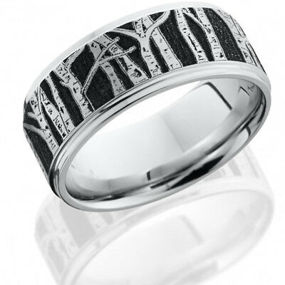 Cobalt Chrome 9mm Flat Band with Grooved Edges and Laser Carved Aspen Pattern