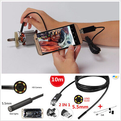 10M 5.5mm Android HD Endoscope Waterproof Snake Borescope USB Inspection Camera