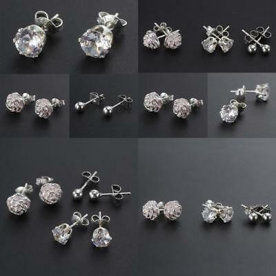 3 x 925 Sterling Silver Plated Stud Earrings Set, 4mm Ball, 5mm Crystal