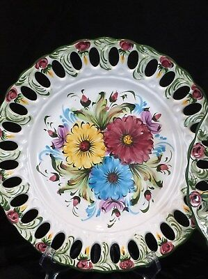Alcobaca Handpainted Portugal Set Of 6 Dinners Reticulated Pierced