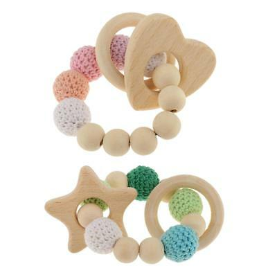 2pcs Baby Star Heart Wooden Beads Teether Ring Infant Teething Bracelet Toy