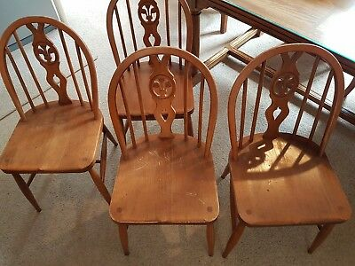 Oak Farmhouse Country Style Chairs Spoke Wheelback Priory Vintage Old Dining
