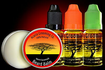 Acacia Grooming Co. Natural, Organic, Conditioning Beard Oil + Strong White Balm
