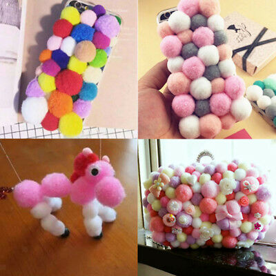 Pack of 100 Fluffy Pom Poms Mini Craft Various Colors 18mm Small Pompom Ball