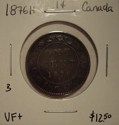B Canada Victoria 1876H Large Cent - VF+