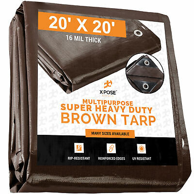 20' x 20' Super Heavy Duty 16 Mil Brown Poly Tarp cover - Thick Waterproof