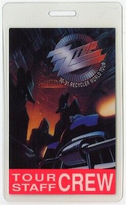ZZ Top authentic 1990-1991 Recycler Tour concert  Laminated Backstage Pass Crew