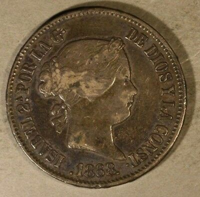 1868 Phillipines 50 Centavos Silver Circulated Coin Nice** FREE U.S. SHIPPING **
