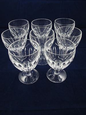 Set of 8 STEUBEN 6268-1 Wafer Stem Cut Glass Water Glasses Goblets See photos