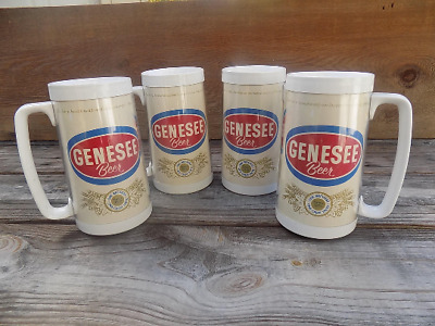 Set of 4 Vintage Genesee Beer Steins Mugs Thermo Serv Insulated Made in USA