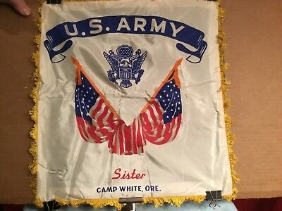 "Vintage satin pillow cover Souvenir US ARMY CAMP WHITE ORE  WWII Era ""SISTER"