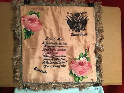 "Vintage satin pillow cover Souvenir US ARMY Camp HAAN RIVERSIDE WWII Era ""SISTER"