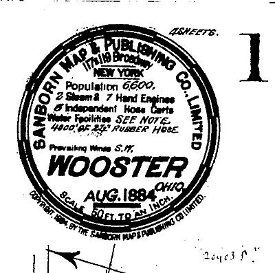 Wooster, Ohio~Sanborn Map© sheets~made in 1884, 1888, 1892  with 20 maps on CD