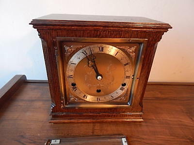 Vintage English Elliott London Oak Wind Up Shelf/mantel Clock Runs Good Intrntal