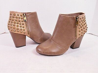 Jessica Simpson Casino Women's size 6.5 B Tan Leather Studded Ankle Boots