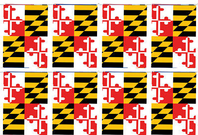 Maryland State USA United States 12x18 Bunting String Flag Banner (8 Flags)