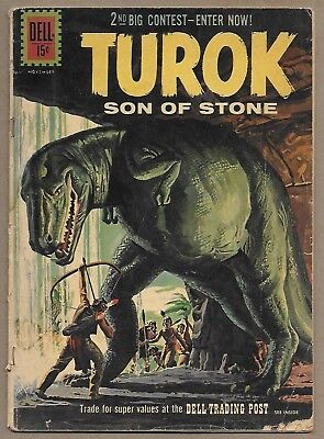 "Turok Son of Stone #25~""The Hidden Monster""~Giant Dinosaur c~Early Dell Sci-fi"