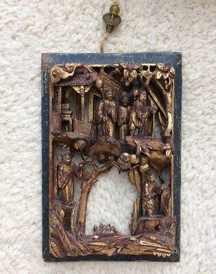 Antique Chinese Deeply Carved Gilt Wood Panel Figures