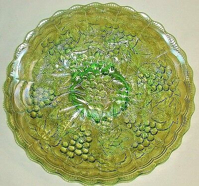 """Imperial Carnival Glass Helios Green Imperial Grape 9"""" Flat Plate"""