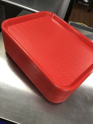 """Carlisle CT101405 Cafe 10"""" x 14"""" Red Standard Plastic Fast Food Tray"""