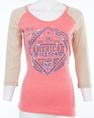 AMERICAN FIGHTER Women T-Shirt FORT VALLEY Athletic CORAL SAND Biker Gym UFC $40