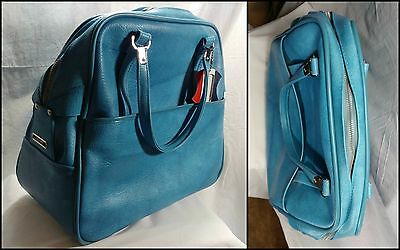 "Vintage Blue American Tourister Escort Luggage Carry On Tote 17"" X 15"" X 8"""