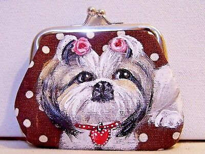 hand painted Shih Tzu dog on canvas kiss lock coin purse gift