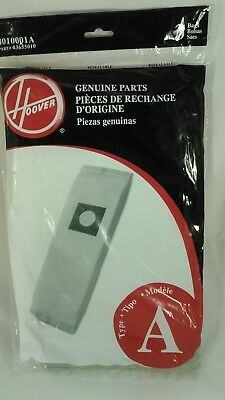 Hoover Type A Vacuum Cleaner Bags Genuine Parts 4010001A 3 Pack Upright Bags