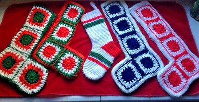 Lot of 5 Handmade GRANNY SQUARE Christmas STOCKINGS Knitted