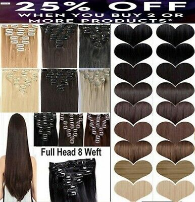 100% real natural feel hair like own Full Head Clip In Hair Extension 8 pieces