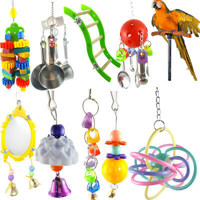 Parrot Pet Bird Chew Cages Hang Bell Mirror Wood Ladder Bells Chew Toys Surprise