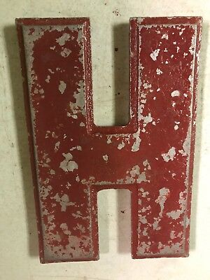 """Vintage Wagner Sign Company Cast Aluminum 8"""" Letter H Movie Marquee"""
