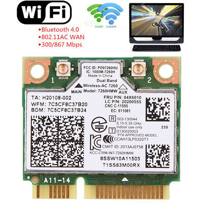 600Mbps Wireless Dual Band Bluetooth 4.0 Mini PCIe Wifi Card For Intel 7260AC ZZ