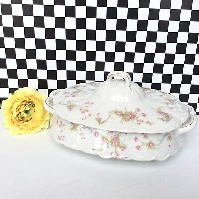 Vintage Bavarian china covered dish Hutschenreuther Selb LHS tea rose pattern VG