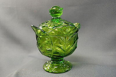 Viking Glass Leaf Green Footed Candy Dish With Lid HTF