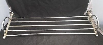 "vintage chrome over brass bathroom towel rack shelf 25"" wall mounted Rare"