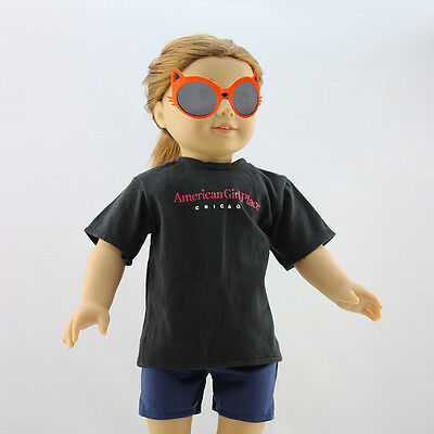 Handmade Doll Clothes Black T-shirt for 18 Inch American Kids Dolls  New.