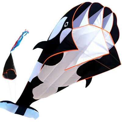 Free shipping Black 3D Cartoon Whale Software Kite Single Line BechWith String