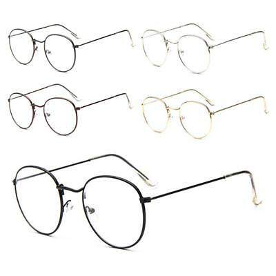 New Women Men Large Metal Frame Clear Lens Round Circle Eye Glasse Nerd Vintage