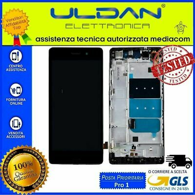 TOUCH SCREEN VETRO + LCD DISPLAY + FRAME Per Huawei Ascend P8 Lite ALE-L21 Nero