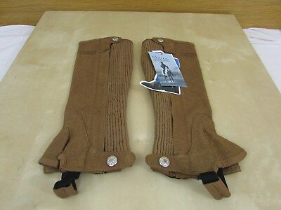 Shires Ssl Synthetic Suede Half Chaps - Brown -Size Child Medium - Bnwt - Riding