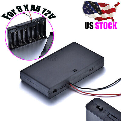 8x AA 12V Black Enclosed Battery Case Holder Connector Wire Leads ON/OFF Switch