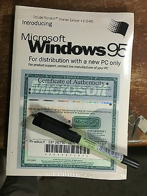 WINDOWS 95 Operating System Book,CD, License Key.