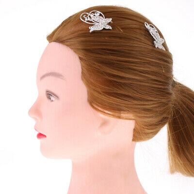 2pcs Crystal Rhinestone Butterfly Hair Comb Wedding Pageant Hair Accessories