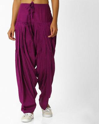 Cotton Solid Full Patiala Women Free Size Salwar Patiala Pants with Knife Pleats