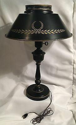 Vintage French Style Metal Table Lamp - Milk Glass Diffuser Tole Painted MCM