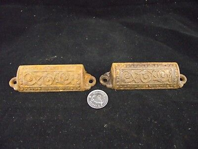 "2  Antique Eastlake  4 1/4 ""  File Drawer Pulls Cast Iron Original Not Brass"