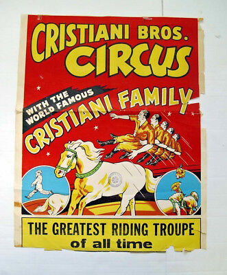 Colorful Original Early Horse Action Filled Cristiani Bros. Family Circus Poster